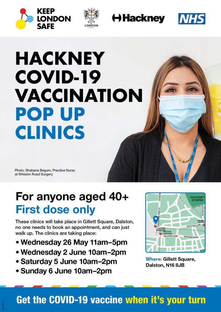 Hackney COVID 19 Vaccination Pop Up Clinics 724x1024 - GP COVID19 Vaccination Bulletin Wed 26th May 2021